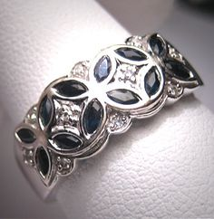 Vintage Sapphire Diamond Wedding Ring Band by AawsombleiJewelry, $895.00 (would replace sapphire with Topaz)