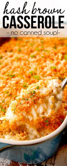 This Hashbrown Casserole is the BEST EVER with no canned soups or mayo! but SO mega creamy decadently delicious and the most comforting side did EVER! (Make ahead freezer instructions) # via This Hashbrown Casserole is the BEST EVER Taco Casserole, Hashbrown Casserole Recipe, Hash Brown Casserole, Casserole Recipes, Breakfast Casserole, Kitchen Recipes, Cooking Recipes, Healthy Recipes, Yummy Recipes