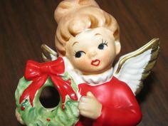 1950's Napco Angel X-Mas Holiday Red, Angel Wings, Choir Angel, Made in Japan
