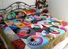 Queen Bed Quilt NEW YORK BEAUTY Scrappy Style in by QuiltLover, $725.00