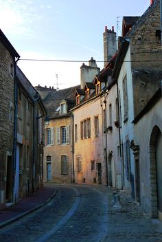 Softly lit street in Beaune, France