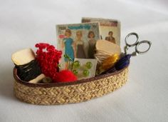 Dollhouse Sewing Basket by picklebearies on Etsy, $8.00