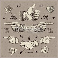 Design elements - thumb up, pointer, handshake. : Arte vectorial
