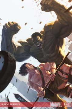 Hulk vs. Hercules by Marko Djurdjevic