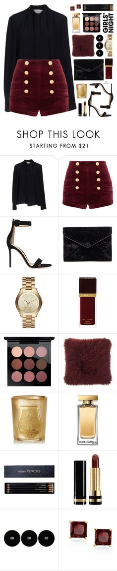"""""""Girls Night"""" by mylkbar ❤ liked on Polyvore featuring Victoria, Victoria Beckham, Pierre Balmain, Gianvito Rossi, Rebecca Minkoff, Michael Kors, Tom Ford, MAC Cosmetics, Cire Trudon, Dolce&Gabbana and Sloane Stationery"""