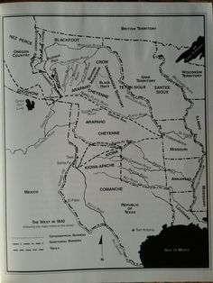 The West in 1840. Major Tribe s