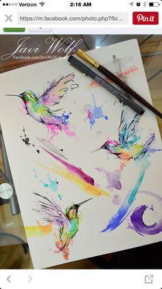 Bildergebnis für aquarell tattoo kolibri