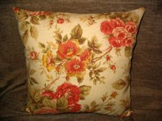 14in square Shabby Chic Quilted French Country Cottage Roses Decorator Throw Pillow OOAK
