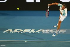 Alexandr Dolgopolov of Ukraine competes during his World Tennis Challenge match against Tomas Berdych of Czech Republic at Memorial Drive on January 12, 2017 in Adelaide, Australia.