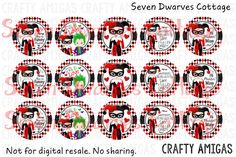 Harley Quinn one inch bottle cap circles