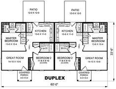 Duplex Plan chp-27090 at COOLhouseplans.com