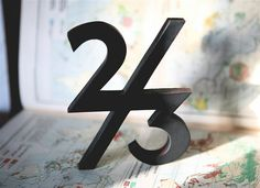 "Typographic Wooden Letter - 2/3 - ""Two Thirds"" - Original Design. $37.00, via Etsy."