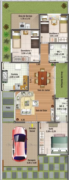 Planta humanizada cod 74 - perfeita, fecha suíte com lavabo e tem sala de atendimento Dream House Plans, Modern House Plans, Small House Plans, House Floor Plans, Master Closet Layout, Walk In Closet Design, Home Design Plans, Plan Design, Layout Design