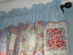 Shabby Chic Vintage Hanky Curtain / Valance Blue Polka by jgchic, $60.00