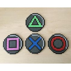 Playstation button coaster set hama beads Beads by Geeks