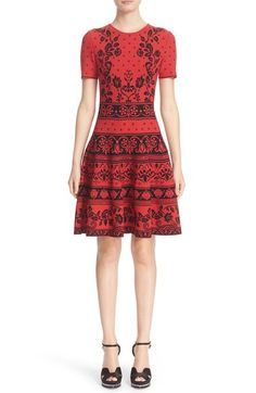 Alexander McQueen Floral Jacquard Knit Fit & Flare Dress available at #Nordstrom