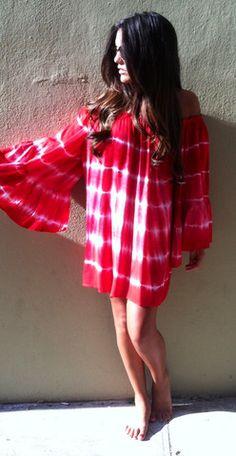 Fiery Red Low Shoulder Dress Gypset - Boca Leche