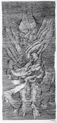 scroll drawings inside a car by artist carl krull as he and a driver traveled across the US