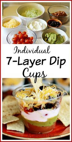 Individual 7 Layer Dip Cups = Are you hosting or need a contribution to a Cinco de Mayo party? 7 layer dip is just the thing! All those layers equals loads of flavor! Plus individual cups makes this the perfect party appetizer (no need to worry about double dippers)!