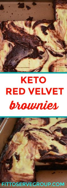 Keto Red Velvet Cheesecake Swirled Brownies The perfect alternative to traditional high carb red velvet cake. #keto #ketoredvelvet #ketobrownie #ketodessert #lowcarb #lowcarbdessert #healthyredvelvetcake @fittoservegroup
