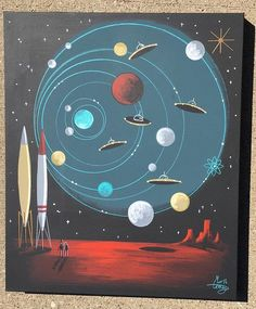 New painting now available on eBay! #outerspace #midcenturymodern #1950s #©elgatogomez #sci-fipulp #flyingsaucer Mid Century Modern Art, Mid Century Art, Chemistry Posters, Art Nouveau, Art Deco, Cute Drawings, Space Drawings, Atomic Age, Googie