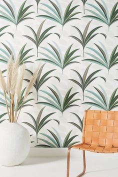 Morocco Palm Wallpaper by Anthropologie in Assorted, Wall Decor Stick On Wallpaper, Palm Wallpaper, Unique Wallpaper, Striped Wallpaper, Nature Wallpaper, Grid Wallpaper, Temporary Wallpaper, Billie Eilish, Anthropologie