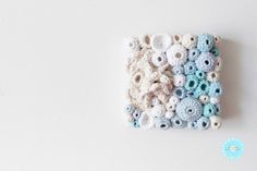 Crochet Fibre Art 5 - contemporary modern white blue ocean one of a kind ooak textile coral reef soft sculpture round original artwork decor