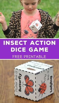 Act Like an Insect - Action Dice - Tyee Outdoor Experience This insect action die encourages kids to get outside, active, and thinking about insects. Act like an insect and get the conversation started about other things insects do. Insect Activities, Nature Activities, Spring Activities, Toddler Activities, Outside Activities For Kids, Movement Activities, Insects For Kids, Bugs And Insects, Insect Crafts