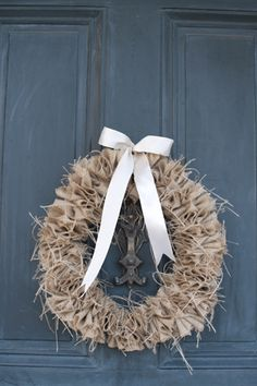 burlap wreath DIY | photo by Sweet Tea Photography Burlap Weddings, Wedding Burlap, Burlap Lace, Barn Weddings, Fall Wedding, Diy Wedding, Wedding Decor, Rustic Wedding, Dream Wedding