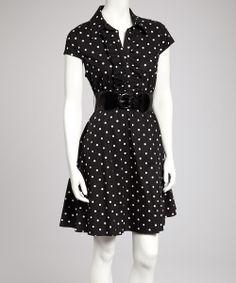 Black & White Polka Dot Belted Shirt Dress