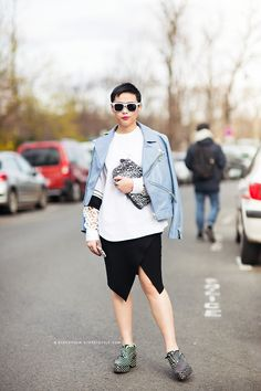 Love the shoes and the baby blue leather. In paris