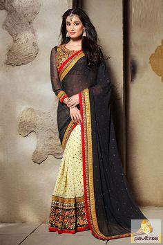 Pavitraa Jacquard Offwhite Black Embroidered Saree