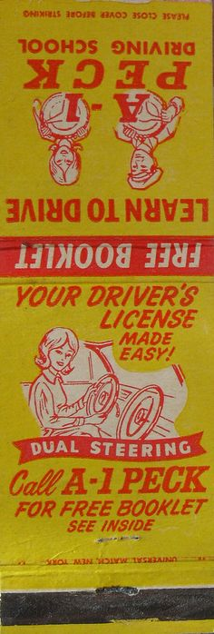 1960s MATCHBOOK COVER A-1 Peck DRIVING SCHOOL. #frontstriker 20 stem #matchbook. To order your business' own branded #matchbooks call 800.605.7331 or go to: www.GetMatches.com. Today!
