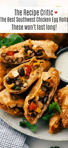 The Best Southwest Chicken Egg Rolls Shrimp Egg Rolls, Chicken Egg Rolls, Pork Egg Rolls, Chicken Eggs, Easy Egg Roll Recipe, Egg Roll Recipes, Rolls Recipe, Recipes With Egg Roll Wrappers, Wanton Wrapper Recipes