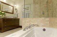 Lejla Eden Interiors - bathrooms - Benjamin Moore - Niveous - master bath, travertine, walnut vaity,  Custom Walnut Vanity