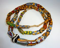 Brown African Traditional Glassbeads, Handmade, Trade Beads, 1 Strand with 41 Brown African Handmade Glassbeads