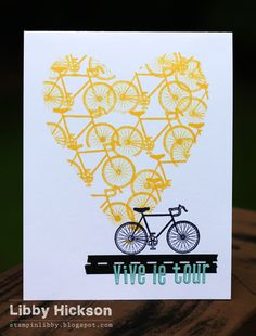 Inspired by the Tour de France. Used a heart mask with a Hero Arts bicycle stamp. <3 Libby!
