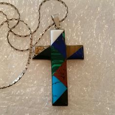 """Vintage Cross w/Inlaid Stones Pendant and Chain 925 Sterling Silver Makers Mark MWS Mexico, with beautiful real multi stone setting. 3"""" long 2"""" wide. Beautiful thick Sterling Silver chain included 18"""" Vintage Jewelry"""