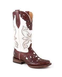 Stetson Boots Women's Mahogany With Glazed White Walking Heel Boot