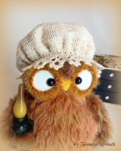 Bonnette the night owl crocheted OOAK van Nowacrochet op Etsy