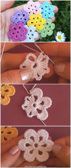 Easy to crochet beautiful flowers- Einfach häkeln schöne Blumen Easy to crochet beautiful flowers, - Crochet Motifs, Crochet Flower Patterns, Crochet Flowers, Crochet Stitches, Knitting Patterns, Diy Flowers, Crochet Flower Tutorial, Blanket Patterns, Small Flowers