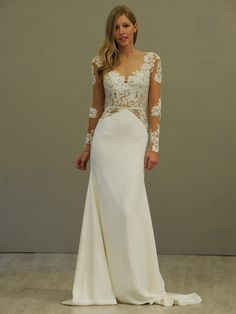 Hayley Paige ivory long sleeve lace a-line wedding dress, illusion bateau neckline with v-front and keyhole back, piping detail and sheer lace accent at hip, slim silk crepe skirt