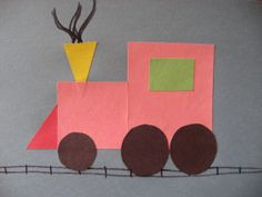 The rest of this week we will continue working on crafts with shapes. There was no craft yesterday since I was off work for my anniversary! Shape Train Materials -construction paper cut into the f… Paper Train, Train Art, Toddler Art, Toddler Crafts, Kids Crafts, Construction Paper Crafts, Train Activities, Learning Shapes, Transportation Theme