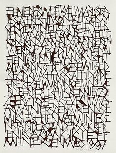 'Illusies' (1997) by Brügge-based calligrapher Lieve Cornil (b.1971). 36 x 28 cm. via The Berlin Calligraphy Collection  Kalligrafie verzamelen!  - typo