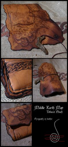 MiddleEarth Map tobacco pouch by morgenland.deviantart.com on @deviantART - Probably wouldn't use it as a tobacco pouch, but this is REALLY cool.