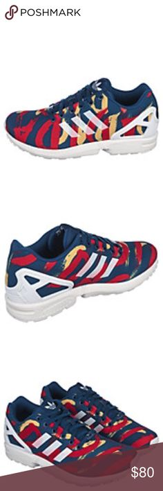 ZX Flux Multi color, retro inspired design.  Padded insoles. Womens. Adidas Shoes Athletic Shoes