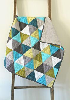 Pretty: Craftyblossom: aqua and olive :: a pyramids baby quilt.