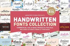 Ad: Handwritten Fonts Collection by Areatype on AUGUST 2019 UPDATE with 4 new fonts You are allowed with the Standard License your can use the font to create unlimited End Products that Calligraphy Fonts, Script Fonts, New Fonts, Bold Fonts, Typeface Font, Monogram Fonts, Monogram Letters, Brush Lettering, Hand Lettering