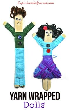 Yarn Wrapped craft stick dolls. A cute craft with fine motor skills. Kids will love to make