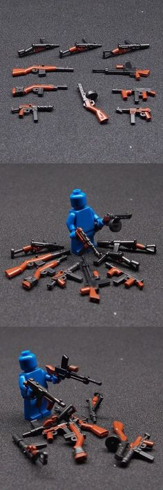 52 custom LEGO guns lot WW2 machine rifle weapons navy army works w// minifigure